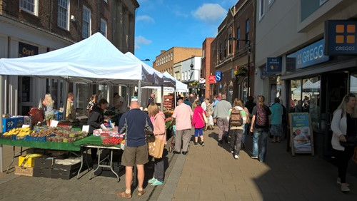 The market in Huntingdon High Street