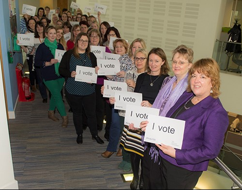 Female staff at HDC celebrate their right to vote